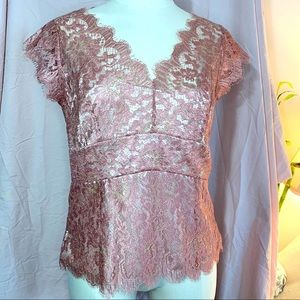 NWOT Ann Taylor antique blush & gold lace top